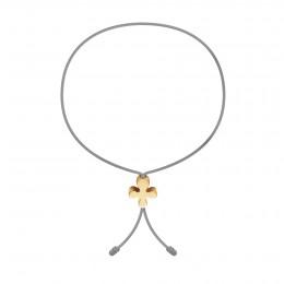 Bracelet avec Clover Lock en or poinçon 585 sur un cordon fin gris clair