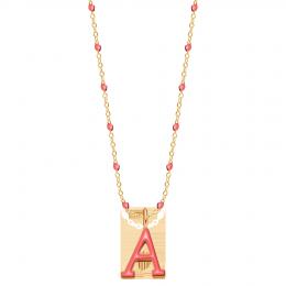 Collier avec lettre, émail corail, plaqué or