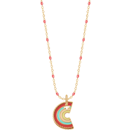 Collier émail corail et pendentif Rainbow, plaqué or