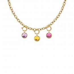 Collier chaîne No.1 avec pendentifs quartz violet, jaune et rose