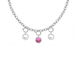 Collier chaîne No.1 avec pendentifs quartz blanc, rose et blanc