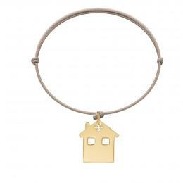 Bracelet avec maison plaquée or sur cordon beige