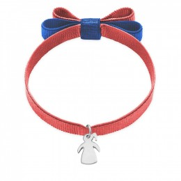 Bracelet ruban double nœud de couleur corail avec une fille en argent