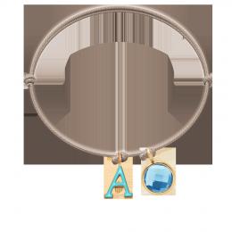 Bracelet avec lettre A et quartz bleu sur cordon beige