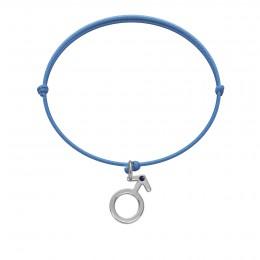 Bracelet avec un pendentif Mars orné d'un saphir, sur un cordon fin bleu