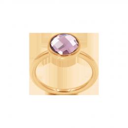 Bague avec quartz violet, plaqué or