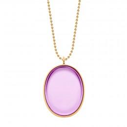 Collier avec médaillon plaqué or, rehaussé d'un cristal Bohème de couleur violette, sur une chaîne maille boules