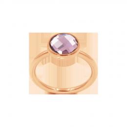 Bague avec quartz violet, plaqué or rose