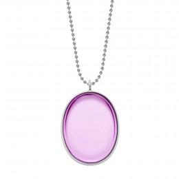 Collier avec médaillon en argent, rehaussé d'un cristal Bohème de couleur violette, sur une chaîne maille boules