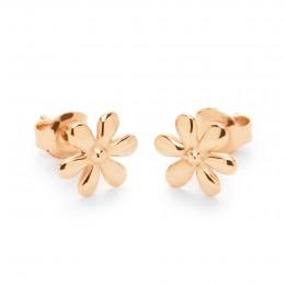 Boucles d'oreilles puces Flowers plaqué or