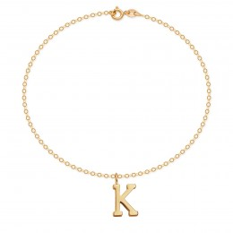 Bracelet avec lettre K en or 585 sur chaine