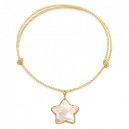 Bracelet avec une étoile en nacre avec bordure d'or poinçon 585 sur un cordon épais doré premium