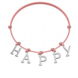 Bracelet HAPPY, lettres plaqué argent, sur cordon classique rose