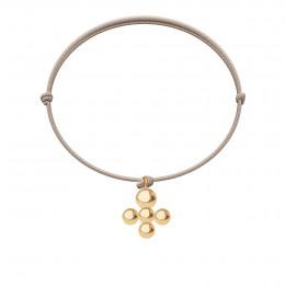 Bracelet avec pendentif Luck plaqué or sur cordon fin beige