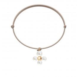 Bracelet avec pendentif Luck avec des perles, plaqué or sur cordon fin beige