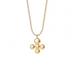 Collier avec pendentif Luck sur chaine maille boule, plaqué or