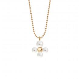 Collier avec pendentif Luck avec des perles, plaqué or sur chaine maille boule