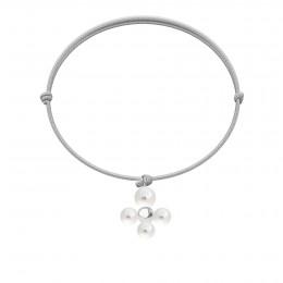 Bracelet avec pendentif Luck avec des perles, plaqué argent sur cordon fin bleu ciel