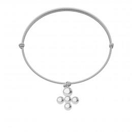 Bracelet avec pendentif Luck plaqué argent sur cordon fin bleu ciel