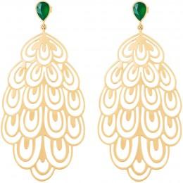 Boucles d'oreilles Paon plaquées or avec onyx