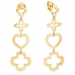 Boucles d'oreilles ajourées 4 éléments trèfle en plaqué or
