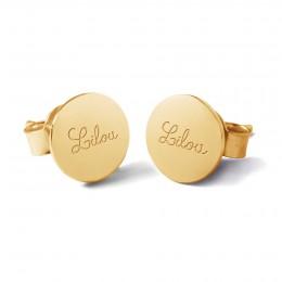 Boucles d'oreilles médaillons avec le logo Lilou plaquées or