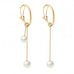 Boucles d'oreilles avec pendentifs perles 5,5 cm et 2,5 cm, plaqué or