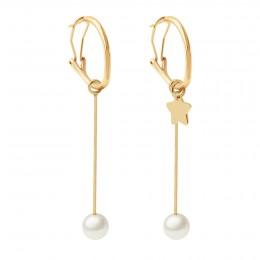 Boucles d'oreilles avec pendentifs perles 5,5 cm et étoile, plaqué or