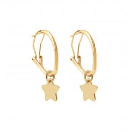 Boucles d'oreilles créoles 2 cm avec étoiles, plaqué or