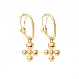 Boucles d'oreilles créoles 2 cm avec pendentif Luck, plaqué or
