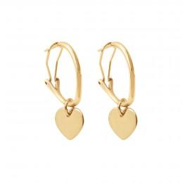 Boucles d'oreilles créoles 2 cm avec coeurs, plaqué or