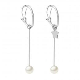 Boucles d'oreilles avec pendentifs perles 5,5 cm et étoile, plaqué argent
