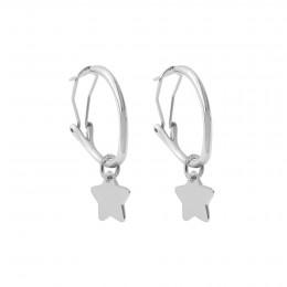 Boucles d'oreilles créoles 2 cm avec étoiles, plaqué argent/argent