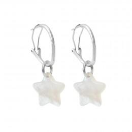 Boucles d'oreilles créoles 2 cm avec étoiles, plaqué argent/nacre