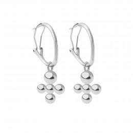 Boucles d'oreilles créoles 2 cm avec pendentif Luck, plaqué argent