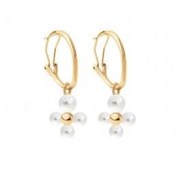 Boucles d'oreilles créoles 2 cm avec pendentif Luck, plaqué or/perles