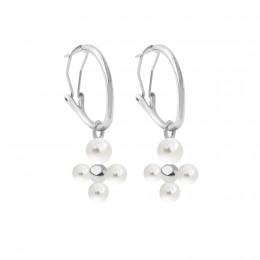 Boucles d'oreilles créoles 2 cm avec pendentif Luck, plaqué argent/perles