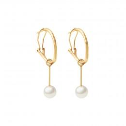Boucles d'oreilles Perles 4,5 cm, plaqué or