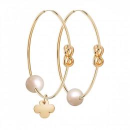 Ensemble de boucles d'oreilles Eternity de 4cm en argent et plaquées or avec grande perle blanche et trèfle rond plaqué or