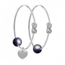 Ensemble de boucles d'oreilles Eternity de 4cm en argent avec grande perle foncée et cœur en argent
