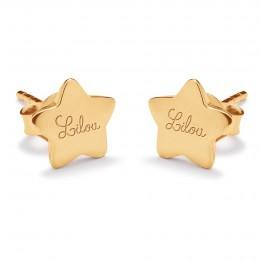 Boucles d'oreilles étoiles avec le logo Lilou plaquées or