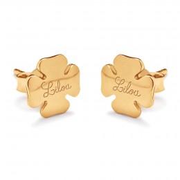 Boucles d'oreilles trèfles avec le logo Lilou plaquées or