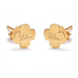 Boucles d'oreilles trèfles ronds avec le logo Lilou plaquées or