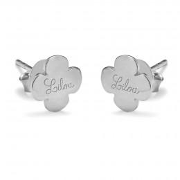 Boucles d'oreilles trèfles ronds avec le logo Lilou en argent