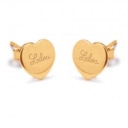 Boucles d'oreilles cœurs avec le logo Lilou plaquées or