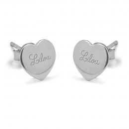 Boucles d'oreilles cœurs avec le logo Lilou en argent
