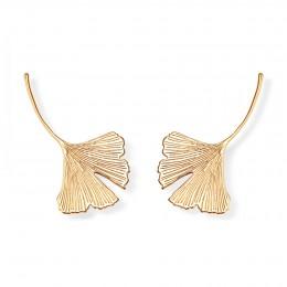Boucles d'oreilles Ginkgo, plaqué or