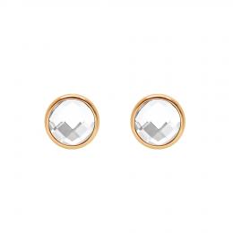 Boucles d'oreilles avec quartz blanc, plaqué or