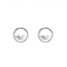 Boucles d'oreilles avec quartz blanc, plaqué argent