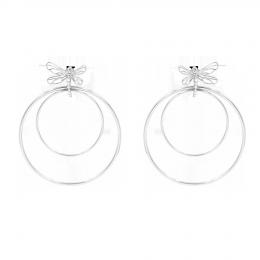 Boucles d'oreilles Libellule, longues, avec zircon blanc